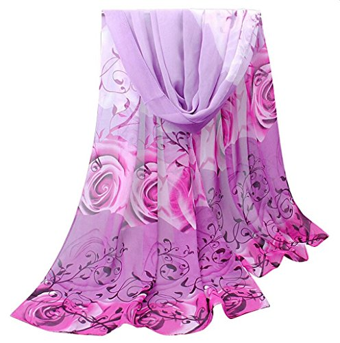 (Women Rose Pattern Chiffon Elegant Scarves Vovotrade (Dark Grey) (Purple))