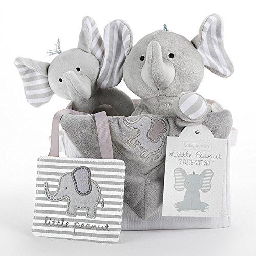 (Baby Aspen Little Peanut Elephant 5 Piece Gift Set)