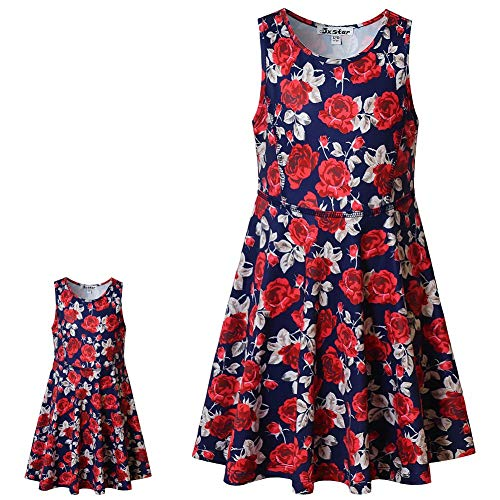 Matching Girls & Dolls Sleeveless Flower Dresses Vintage Summer Swing Dresses