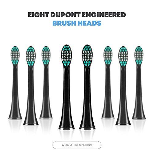 AquaSonic Black Whitening DuPont Heads Travel Ultra Sonic Motor & Charging - 4 w Smart Electric Toothbrush