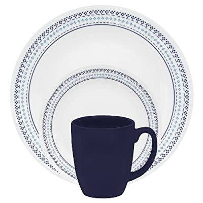"Corelle 1109604 Livingware 16-Piece Dinnerware Set, Folk Stitch, Service for 4,White - Service for 4 includes: 4 each 10-1/4"" Dinner Plates, 6-3/4"" Bread and Butter Plates, 18-Ounce Soup/Cereal Bowls, 11-Ounce Stoneware Mugs Made with break and scratch resistant patented Vitrelle glass technology Space saving design: lightweight and thin, yet extremely durable - kitchen-tabletop, kitchen-dining-room, dinnerware-sets - 51rxlqZyUuL. SS400  -"