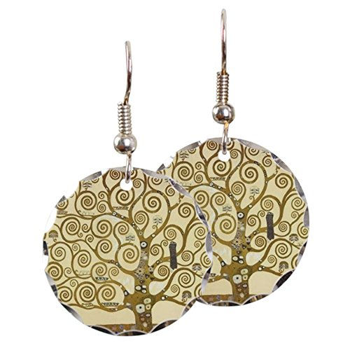 CafePress - Tree Of Life By Gustav Klimt - Charm Earrings with Round -
