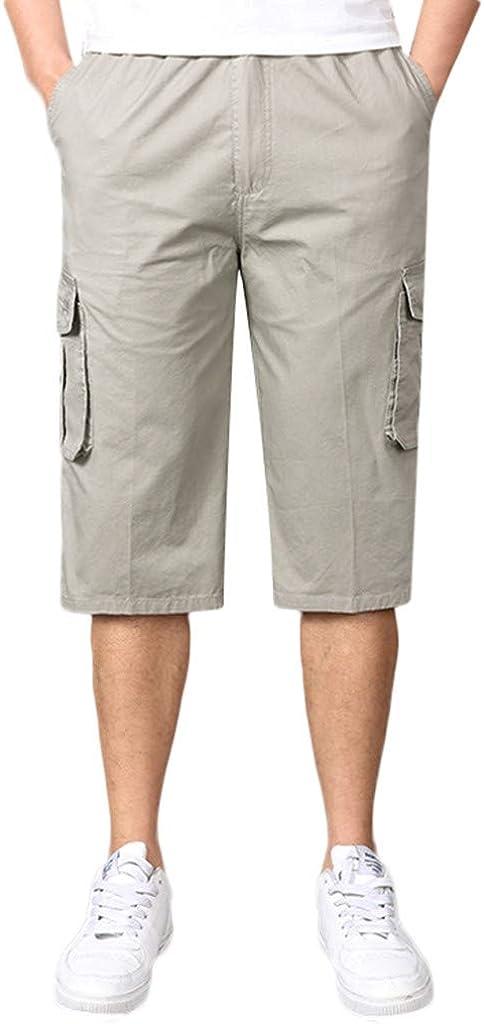 Rikay Mens Casual Shorts Loose 3//4 Cargo Combat Shorts Fit Multi-Pocket Capri Long Short XL-6XL