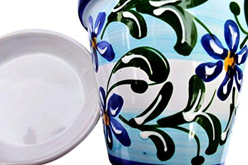 Cactus Canyon Ceramics Spanish Hand-Painted Flower Pot and Saucer, Spanish Sky Design