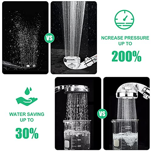 Mineral Shower Head, 4-Mode Water-Saving High-Pressure Handheld Shower Head, Filter Zen Shower Head, With 59-Inch Shower Hose And Filter Cotton. Reduce Hair Loss And Dry Skin
