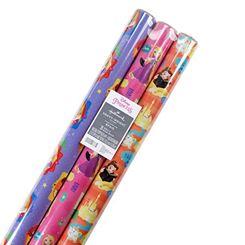Hallmark Disney Princess Wrapping Paper with Cut Lines Pack of 3 105 sq ft ttl