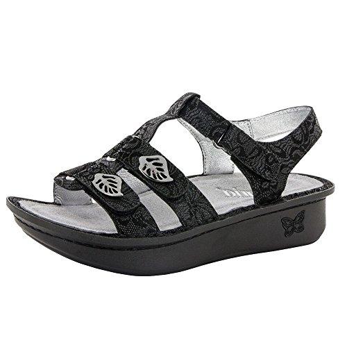 (Alegria Womens Kleo Sandal Shoes, Black Leaf, 36 EU (6-6.5 US))