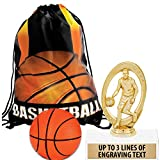 Crown Awards Basketball Goodie Bags, Basketball Favors for Basketball Themed Party Supplies Comes with Personalized Boys Basketball Trophy, Squishball and Basketball Drawstring 50 Pack