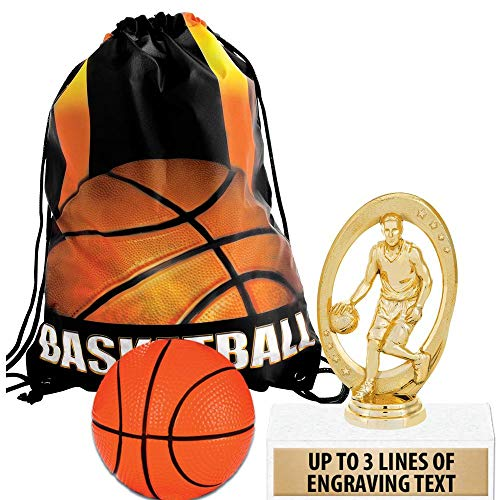 Crown Awards Basketball Goodie Bags, Basketball Favors for Basketball Themed Party Supplies Comes with Personalized Boys Basketball Trophy, Squishball and Basketball Drawstring 50 Pack by Crown Awards (Image #4)