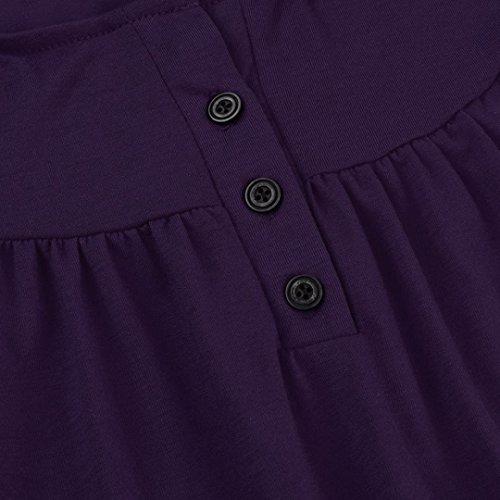 shirt Manica corta Donna estate bottone Rcool pizzo Sexy Camicetta top Elegante Viola di Polo Un0q84xz6w
