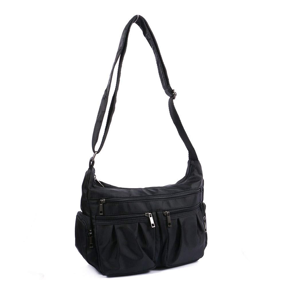 TENXITER Multi Pocket Shoulder Bag Corss-body Purse Waterproof Nylon Travel Handbags for Women