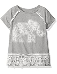 Dream Star Girls' Short Sleeve Top with Crochet Elephant...