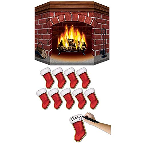 Brick Fireplace Stand-Up with 10 Mini Christmas Stocking Cutouts for $<!--$25.99-->