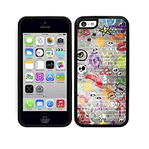 Funda carcasa TPU Gel para Apple iPhone 5C diseño estampado pared calaveras borde negro