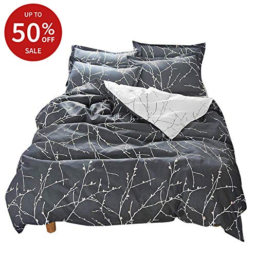 BuLuTu Floral Duvet Cover Set Twin Navy/Cream for Kids Teen Adults,Reversible Branch Print Bedding Sets,Twin Flower Duvet Cover Egyptian Cotton with Zipper Closure and Ties,No Comforter from BuLuTu