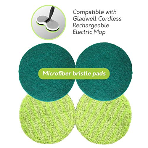 Gladwell Cordless Rechargeable Electric Mop Replacement Pads - Pack of 2 Cleaner (Light Green) + 2 Scrubber (Dark Green) Pads Included