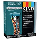 #3: KIND Bars, Dark Chocolate Nuts & Sea Salt, Gluten Free, Low Sugar, 1.4oz, 12 Count