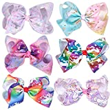 Rsky 7inch Big Sparking Unicorn Cheer Bow Hair Clips for Dancing Cheerleading Girls Pack of 6