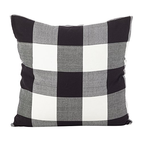 (Fennco Styles Holiday Buffalo Check Plaid Design Cotton Throw Pillow (Black, 20