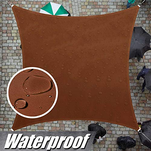 ColourTree 100 Blockage Waterproof 9.5 x 9.5 Sun Shade Sail Canopy Square Brown – Commercial Standard Heavy Duty – 220 GSM – 3 Years Warranty