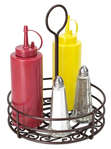 Strong Steel Frame Beautiful Bronze Coating Tabletop Spices Caddy Holder Keep Your Condiments Organized (Shakers Tire Pepper And Salt)