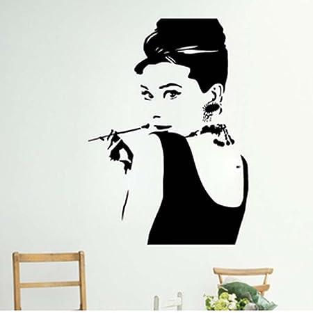 Black Audrey Hepburn Somking Breakfast At Tiffanys Wall Sticker ...