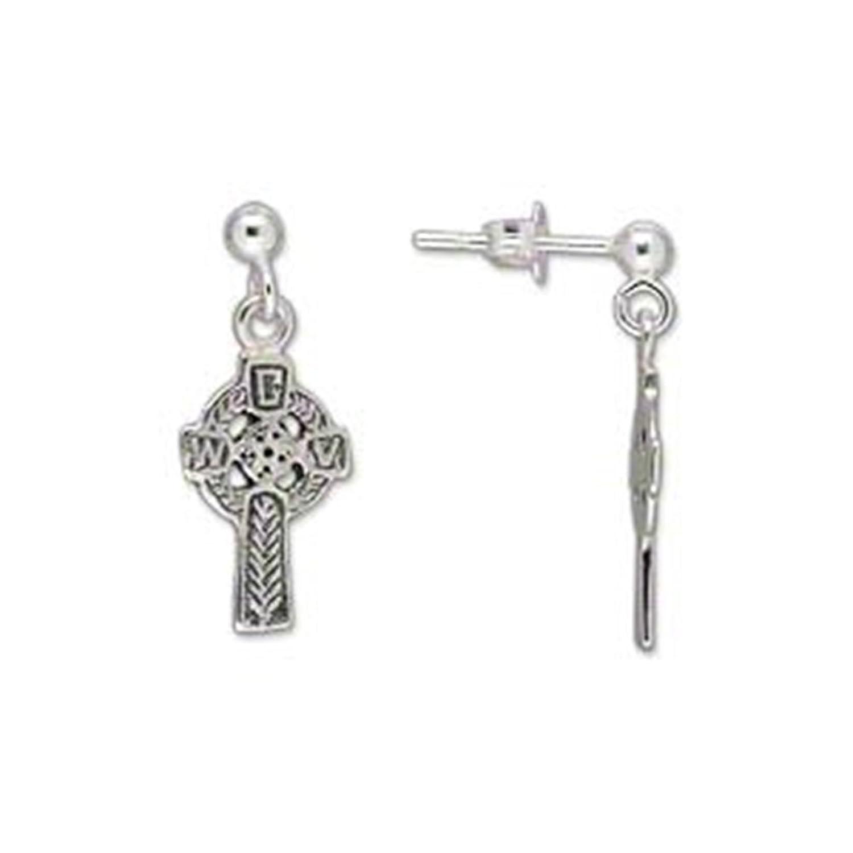 9b9d4f9c4 Amazon.com: Celtic Cross Dangle Earrings Sterling Silver Catholic War  Veterans Symbol: Jewelry