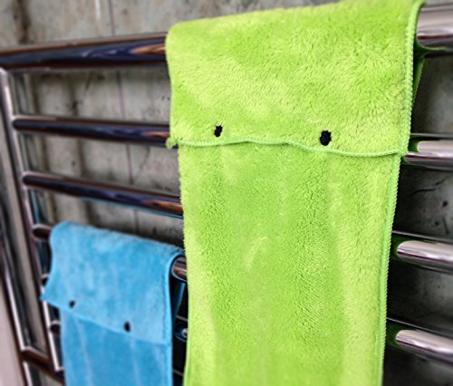 Hanging Hand Towels with Snap Fastener - Set of 3 Lime Green, Hanging Kitchen Hand Towels, Hanging Bathroom Hand Towels, Soft, Quick Drying, Microfiber Fluffy Fingertip Towels by Taylors of Kent (Image #2)
