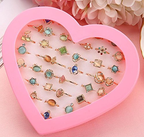 Zhahender Little Girls Accessory Jewellery Toy 36 Pcs/Set Children's Cat's Eye Cute Flower Small Ring Girl Gift Jewelry( Cat's Eye Ring) by Zhahender
