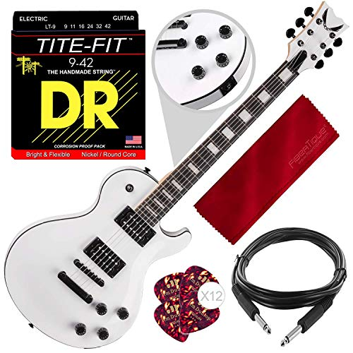 (Dean TBX CWH Thoroughbred X Solid-Body Electric Guitar, Classic White with Guitar Picks, Strings, and Accessory Bundle)