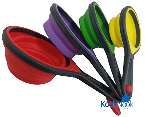 Collapsible Silicone Measuring Cups & Blue Measuring Spoons Set by KookNook, 8 Piece Set