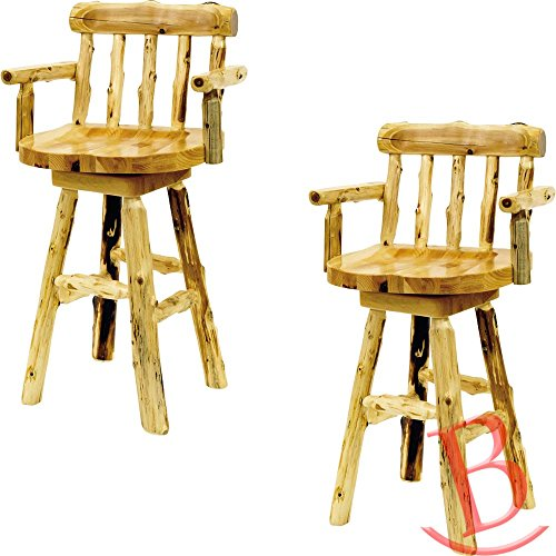 2 Set Counter Height Cedar Log Barstool With Arms Real Wood Western Lodge