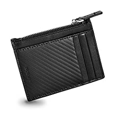 Zipped Card Case - Designed to keep bulk to an absolute minimum.   Holds 5 cards comfortably   Zipped pocket for coins/notes  RFID blocked   Size - 4.3 x 3.3 x 0.1 inches