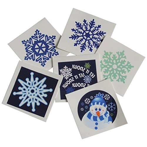 [Assorted Winter Snowflake Snowman Theme Temporary Tattoos (144)] (Temporary Christmas Tattoos)