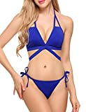 ADOME Women's Bathing Suit Two Pieces Bikini Set Strap Swimsuit Tie Side Bottom Blue M