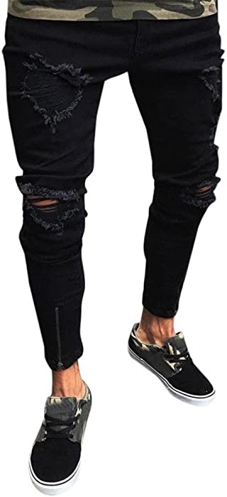 34a78f32 iMakcc Men Skinny Feet Frayed Stretchy Jeans Men Slim Fit Distressed Ripped  Denim Pant (S