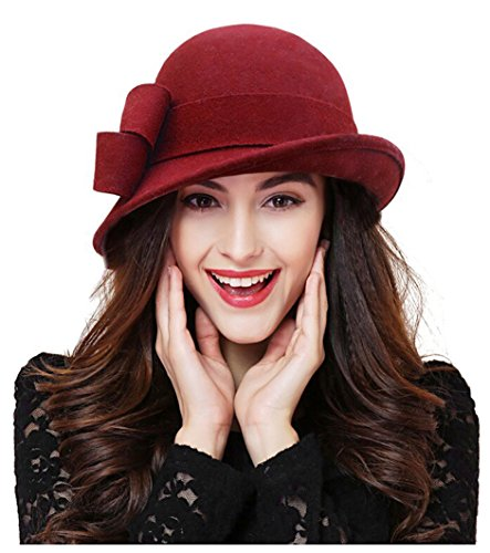Wool Vintage Womens Hat - Bellady Women Solid Color Winter Hat Wool Cloche Bucket With Bow Accent,Dark Red