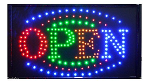 "Large BRIGHT Animated Business LED OPEN Sign w. Switch 21"" X13"" #24 from Unknown"
