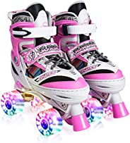 Kuxuan Saya Roller Skates Adjustable for Kids,with All Wheels Light up,Fun Illuminating for Girls and Ladies