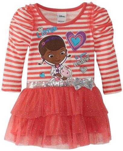 Disney Little Girls' Toddler Doc McStuffins 1 Piece Listen To Your Heart Dress, Coral, (Doc Mcstuffins Dress)