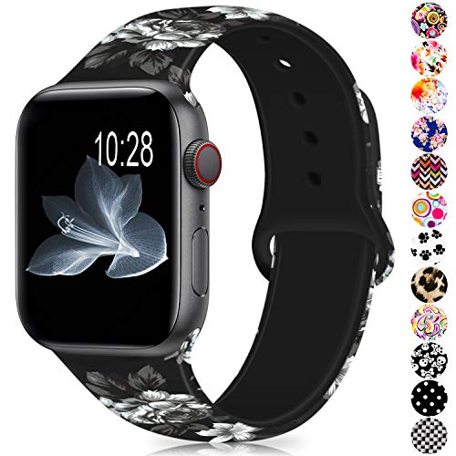 Humenn Compatible with Apple Watch Band 38mm 40mm 42mm 44mm,Soft Silicone Fadeless Pattern Printed Replacement Bands Compatible for iWatch Apple 2018 Watch Series 1,2,3,4