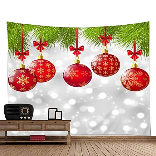 POPPAP Christmas Tapestry White Snowy Grey Background Winter Wonderland Wall Tapestry Big Size Christmas Ball Hanging Wall Hanging Blanket Christmas Background(60