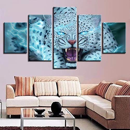 Fbhfbh Canvas Decor Frame Modular Artwork Paintings 5 Pieces Animal Leopard Tiger Blue Eyes Pictures Wall Art HD Prints Abstract Poster-4x6/8/10inch,with Frame]()
