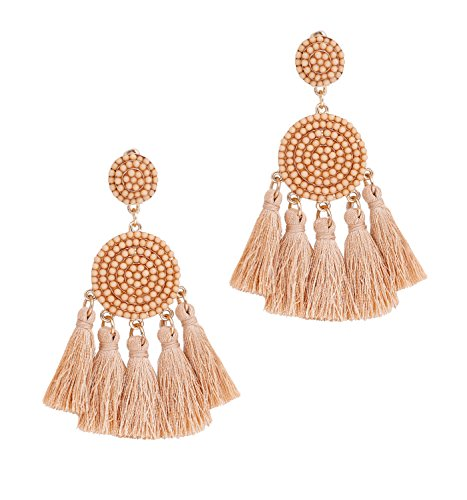 (Chandelier Earrings for Women Statement Flower Dangle Drop Earrings Geometric Beaded Disc Tassel Earrings Stud)