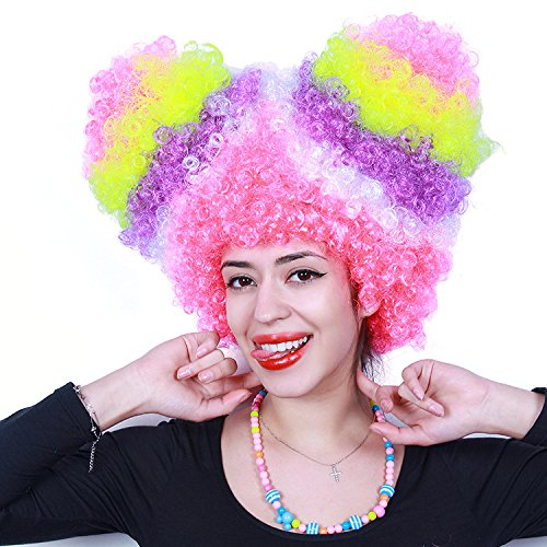 Anxin Fluffy Afro Wig For Women Soccer Football Fans Synthetic Halloween Rainbow Clown Wig Big Top Costume Hairs (Red Green Multicolor)