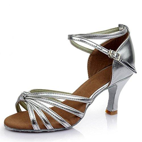 América Zapatos De Baile Zapatos De Baile Adulto Femenino Las Mujeres Con Zapatos De Cuero Blando En Adultos Plata Una7cm