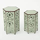 GDF Studio Elliot Outdoor 12 Inch and 14 Inch Sunburst Iron Side Table Set (Crackle Green)