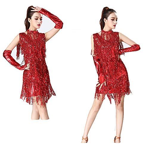 Con Collar Rojo Manos Lentejuelas Las Samba De Trajes Ropa Vestido Baile Elegante Metálico Franjas Espectáculo Mangas Borlas Tango Mano Falda Latino Salón La 4xqYRY