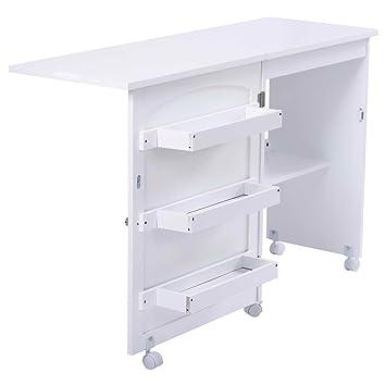 Mesa gabinete multifuncional plegable tabla mesa de máquina para coser blanca: Amazon.es: Hogar