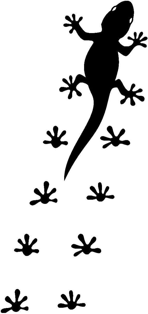 Samunshi Gecko Fußabdrücken Aufkleber Gecko Sticker In 8 Größen Und 25 Farben 4 7x10cm Schwarz Küche Haushalt